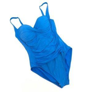 La Blanca twisted ruched waist one piece swim suit